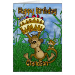 Grandson Happy Birthday with monkey holding cake Cards