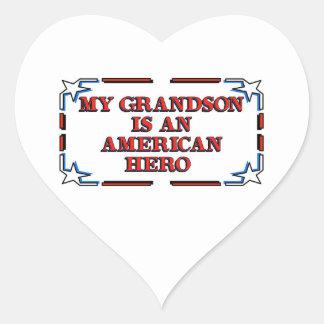 Grandson Hero Heart Stickers