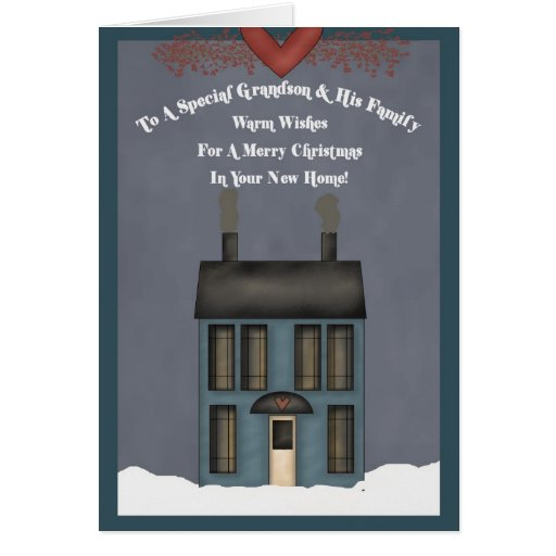 Grandson & His Family, 1st Christmas in New Home Greeting Card