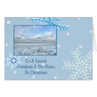 Grandson & His Fiance Winter Lake Christmas Greeting Card
