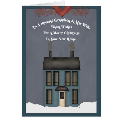 Grandson & His Wife, 1st Christmas in New Home Greeting Cards