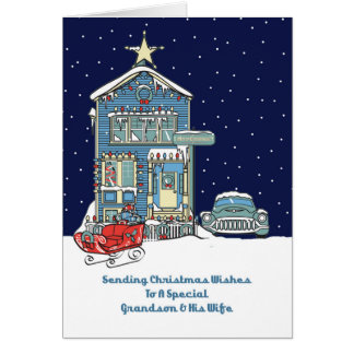 Grandson & His Wife Sending Christmas Wishes Card