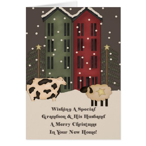 Grandson & Husband 1st Christmas in New Home Card