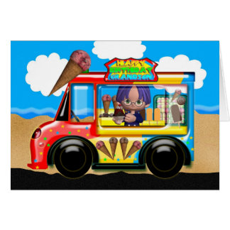 grandson ice cream truck birthday greeting card
