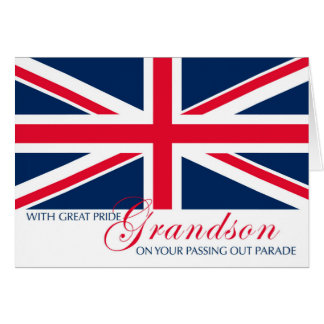 Grandson Marching in Passing Out Parade Union Jack Greeting Card