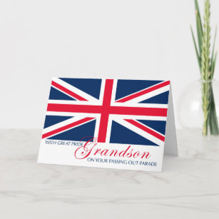 Cards zazzle uk grandson marching in passing out parade union jack card m4hsunfo