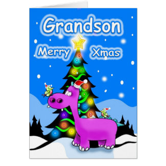 grandson merry christmas greeting card