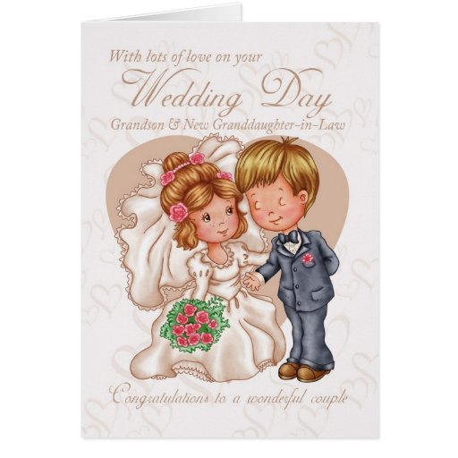 Grandson & New Granddaughter-in-Law Wedding Day Ca Greeting Cards