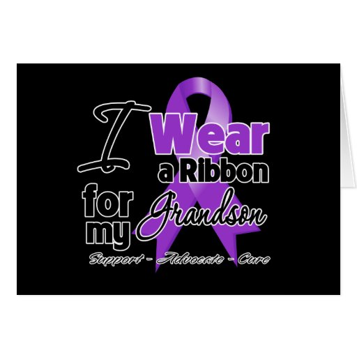 Grandson - Pancreatic Cancer Ribbon Greeting Card