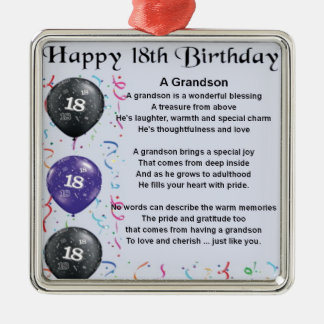Grandson Poem - 18th Birthday Christmas Ornament