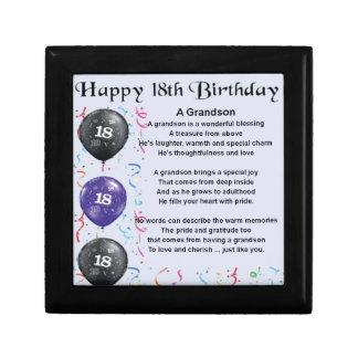 Grandson Poem - 18th Birthday Small Square Gift Box