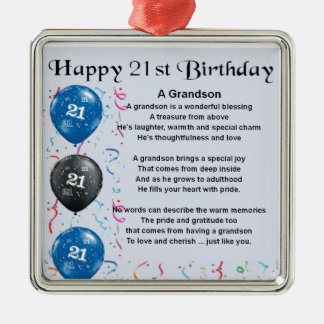 Grandson Poem  -  21st Birthday Christmas Ornament