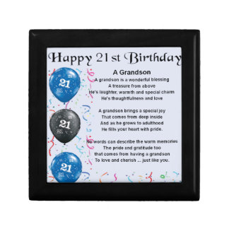 Grandson Poem  -  21st Birthday Small Square Gift Box