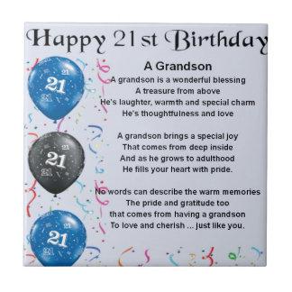 Grandson Poem  -  21st Birthday Tile