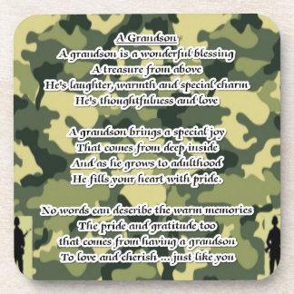 Grandson Poem Army Camouflage Beverage Coasters
