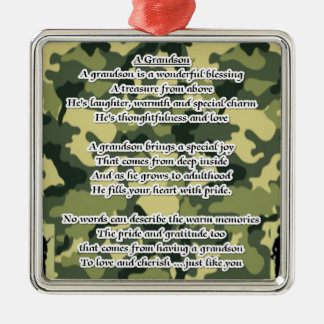 Grandson Poem Army Camouflage Christmas Ornament