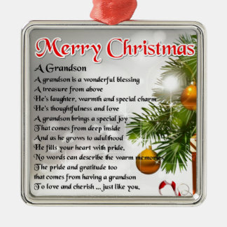 Grandson Poem - Christmas Design Christmas Ornament