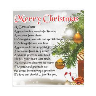 Grandson Poem - Christmas Design Notepad