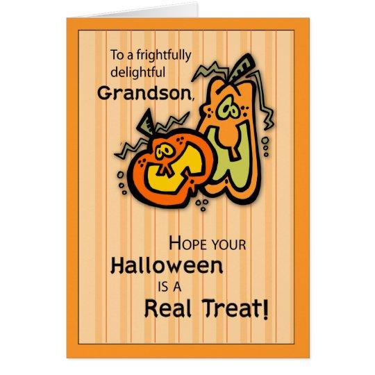 Grandson Pumpkins Halloween Card