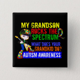 Grandson Rocks The Spectrum Autism 15 Cm Square Badge