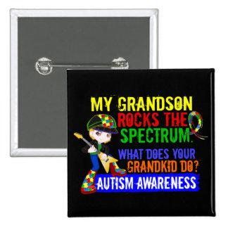 Grandson Rocks The Spectrum Autism 15 Cm Square Badge