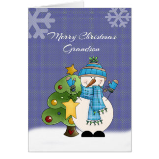 Grandson Snowman Christmas Card