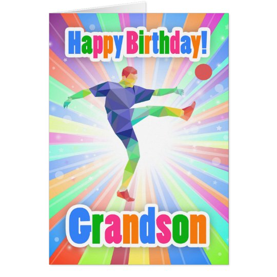 Grandson Soccer Player Birthday Colourful Abstract Card