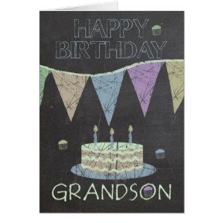 Grandson Trendy Chalk Board Effect Birthday Card