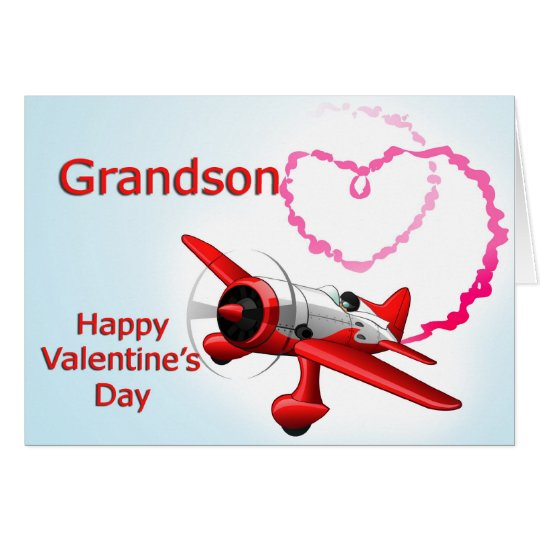 Grandson Valentine's Day Aeroplane with heart Card