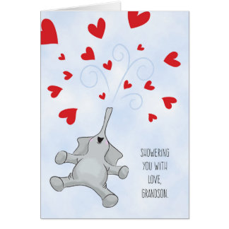 Grandson Valentine's Day Elephant & Hearts Card