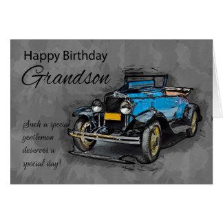 Grandson, Vintage Blue Car OnWatercolor Background Greeting Card