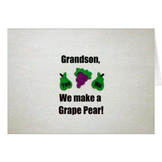 Grandson, we make a grape pear! card