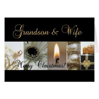 Grandson & Wife Christmas black & White & Gold Card
