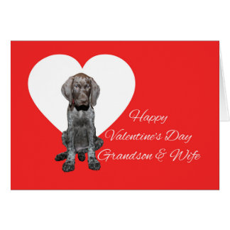 Grandson & Wife Glossy Grizzly Valentine Note Card