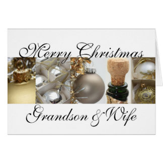 Grandson & Wife merry christmas gold on white chri Greeting Card