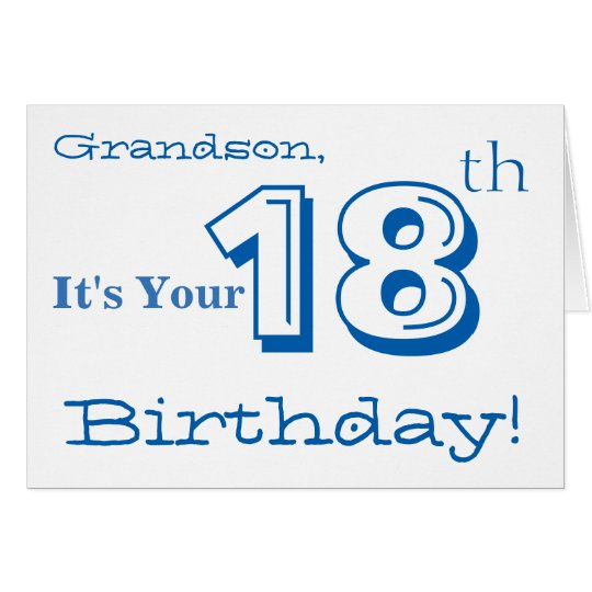 Grandson's 18th birthday greeting in blue & white.