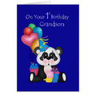 Grandson's 1st Birthday, Panda and Balloons Card