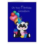 Grandson's 1st Birthday, Panda and Balloons Greeting Card