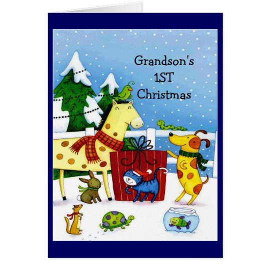 Grandson's 1ST Christmas- Greeting Card