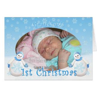Grandson's 1st Christmas Photo Snowman Card
