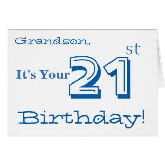 Grandson's 21st birthday greeting in blue & white. card