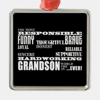 Grandsons Birthdays & Christmas : Qualities Christmas Ornament