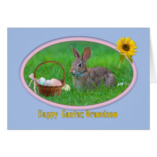 Grandson's Easter Card with Bunny and Eggs