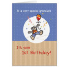Grandson's First Birthday with Bear and Balloon Card