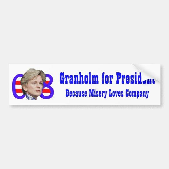 Granholm for President, Misery Loves Company Bumper Sticker