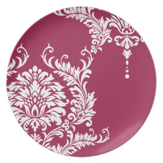 Granita Pink Damask Patio Plate 2012  Color
