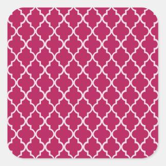 Granita Red, Fuchsia Hue & White Moroccan Pattern Square Sticker