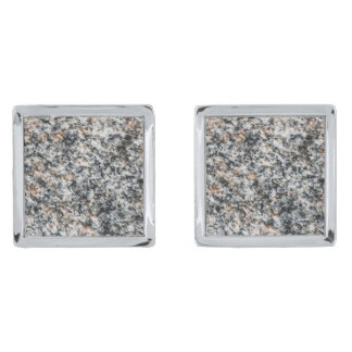 Granite - Hard Rock Silver Finish Cufflinks