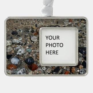 Granite Pebbles in Tenaya Lake Yosemite Nature Silver Plated Framed Ornament