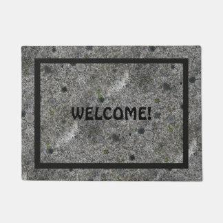 Granite Rock Grey with Black Frame and Text Doormat